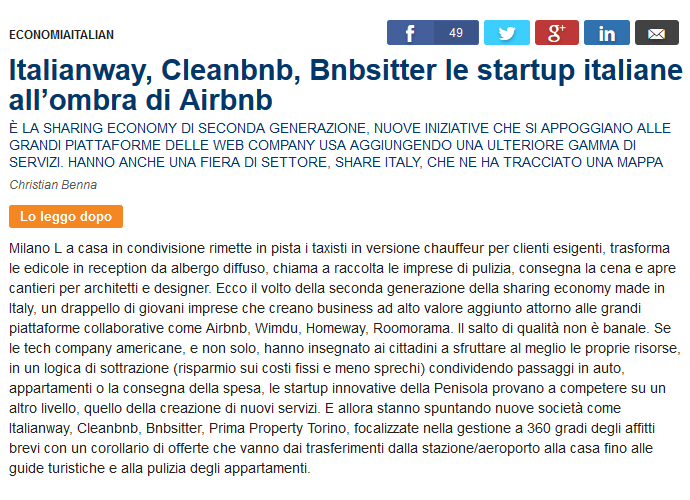 Italianway, Cleanbnb, Bnbsitter le startup italiane all'ombra di Airbnb