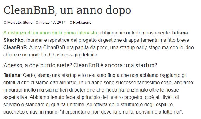 CleanBnB, un anno dopo (StartUP News)