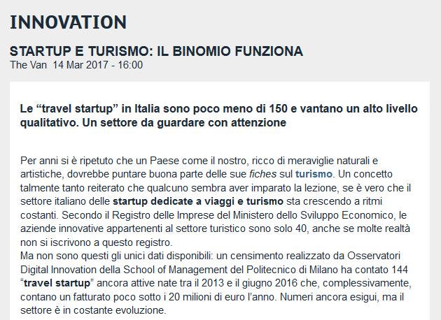 Startup e turismo: il binomio funziona (Borsaitaliana.it)