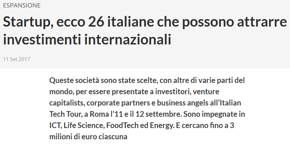 Startup, ecco 26 italiane che possono attrarre investimenti internazionali (EconomyUp)