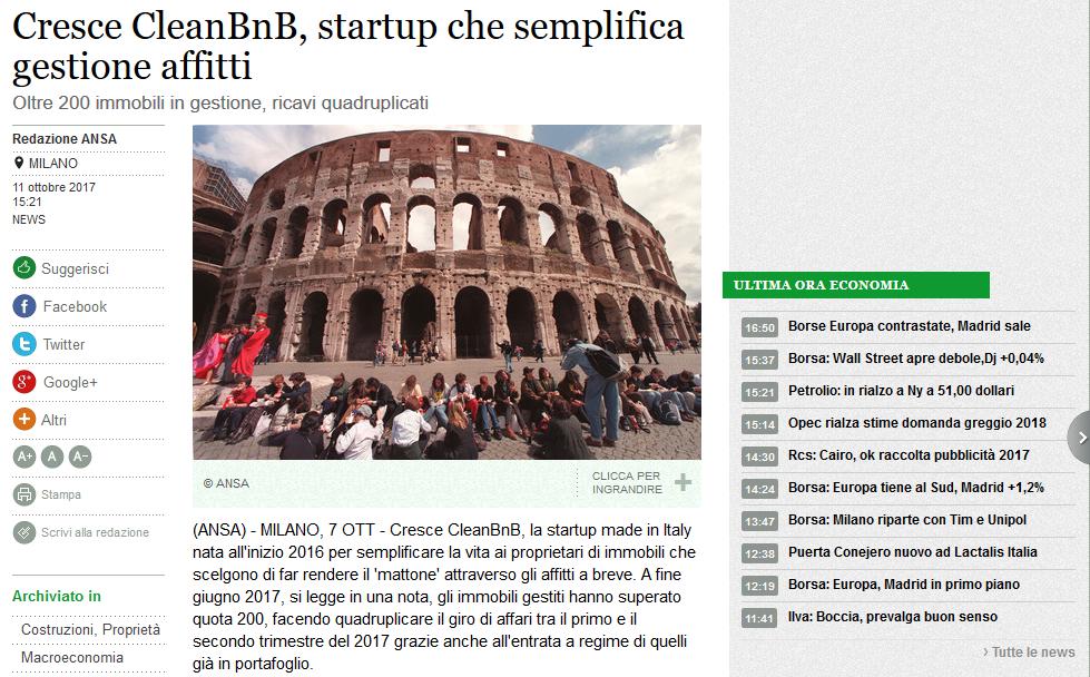Cresce CleanBnB, startup che semplifica gestione affitti (ANSA)