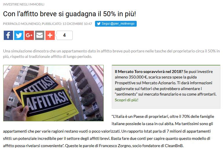 Con l'affitto breve si guadagna il 50% in più! (Trend Online)
