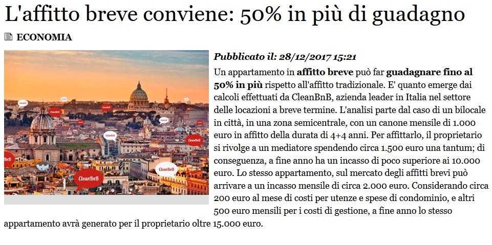 L'affitto breve conviene: 50% in più di guadagno (Adnkronos)