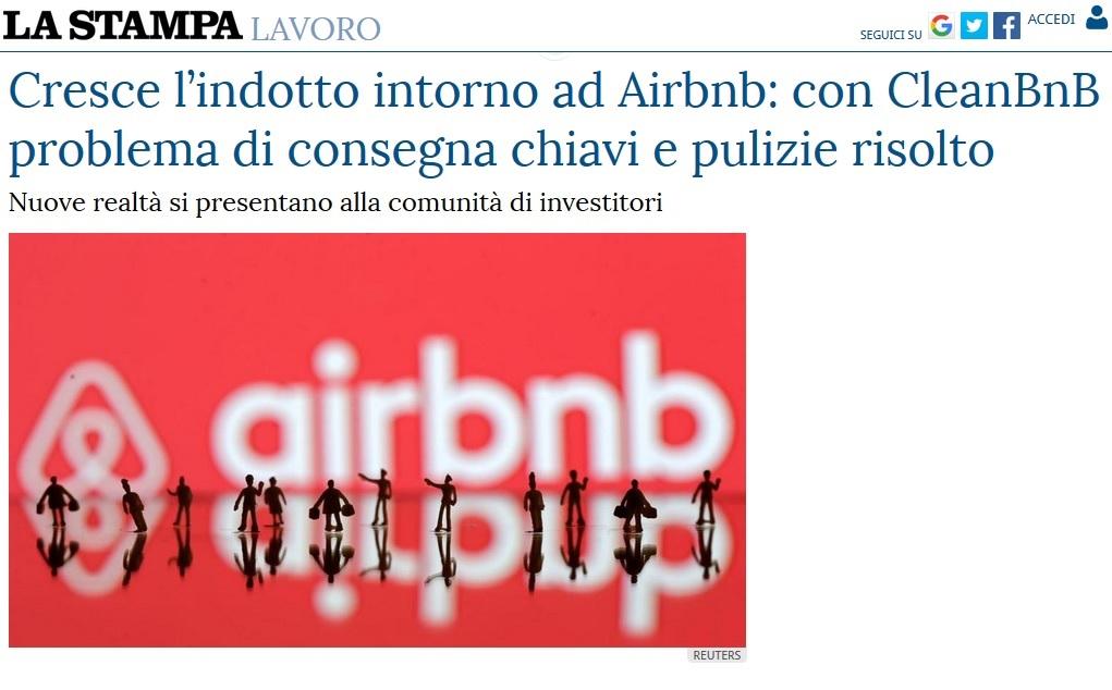 Cresce l'indotto intorno ad Airbnb: con CleanBnB problema di consegna chiavi e pulizie risolto (La Stampa)