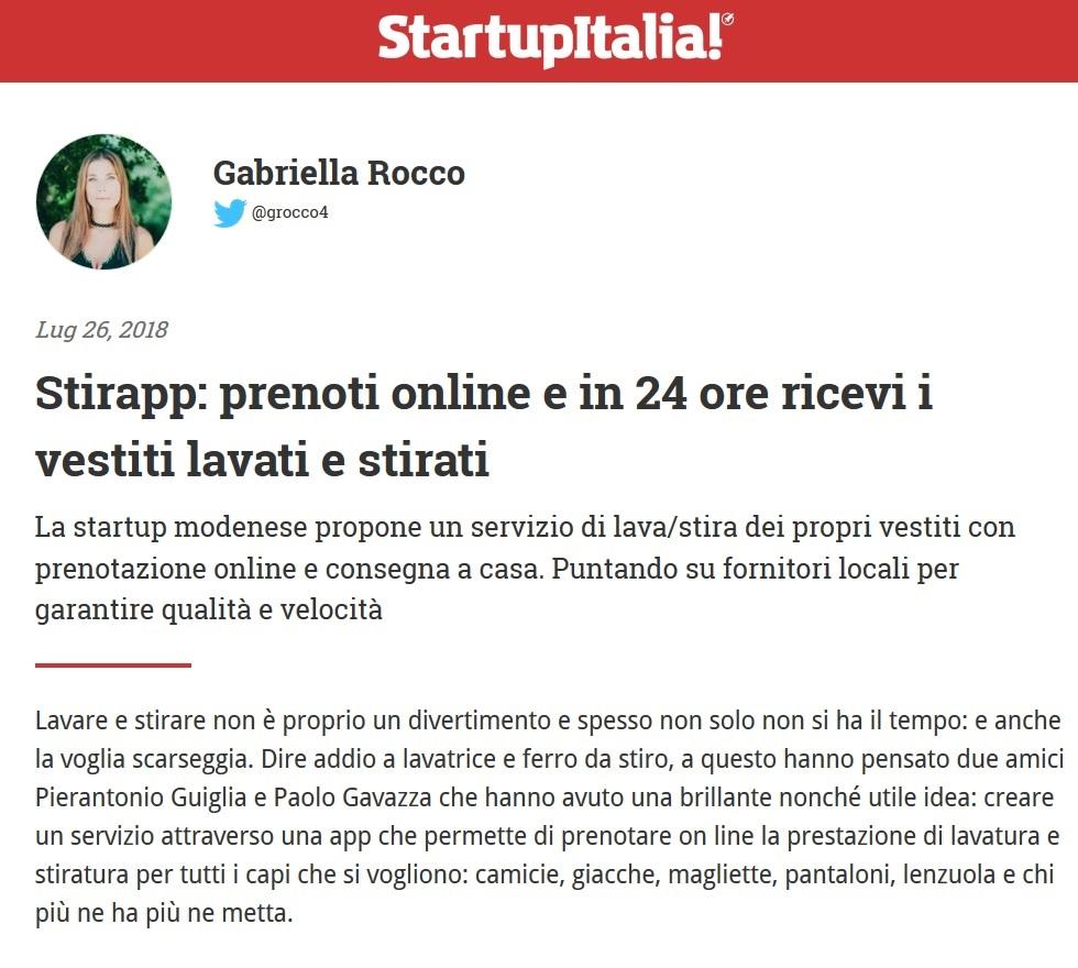 Stirapp: prenoti online e in 24 ore ricevi i vestiti lavati e stirati (StartupItalia!)