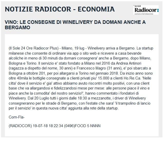 Vino: le consegne di Winelivery da domani anche a Bergamo (Il Sole 24 ORE Radiocor)