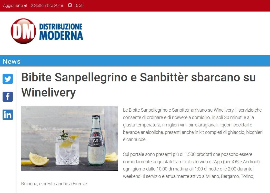 Bibite Sanpellegrino e Sanbittèr sbarcano su Winelivery
