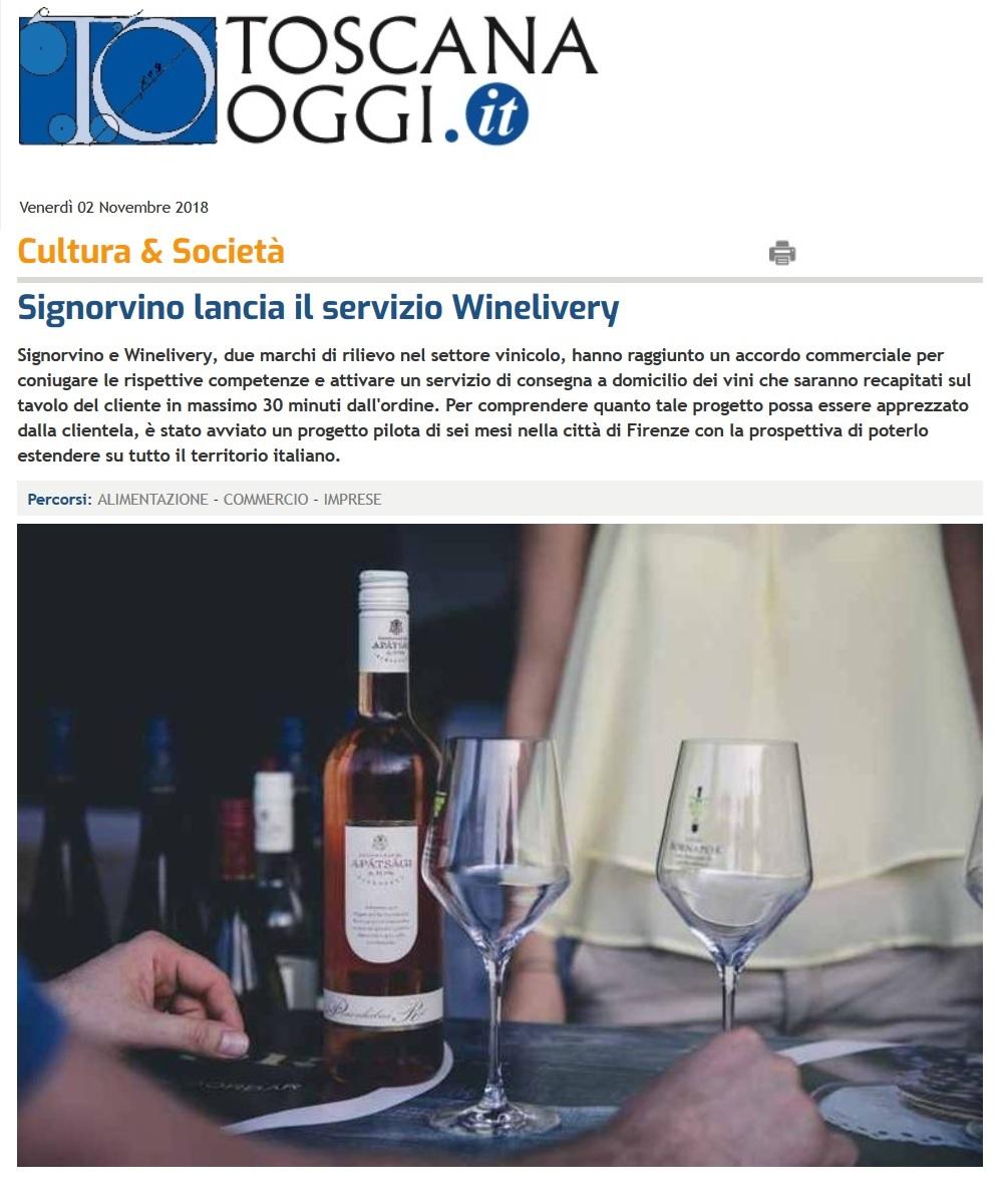 Signorvino lancia il servizio Winelivery (Toscana Oggi)