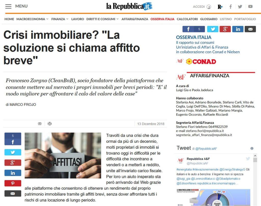 """Crisi immobiliare? """"La soluzione si chiama affitto breve"""" (La Repubblica)"""