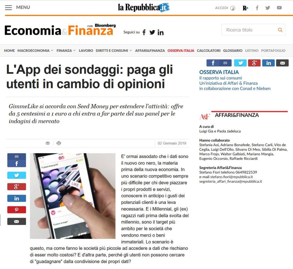 L'App dei sondaggi: paga gli utenti in cambio di opinioni (La Repubblica)