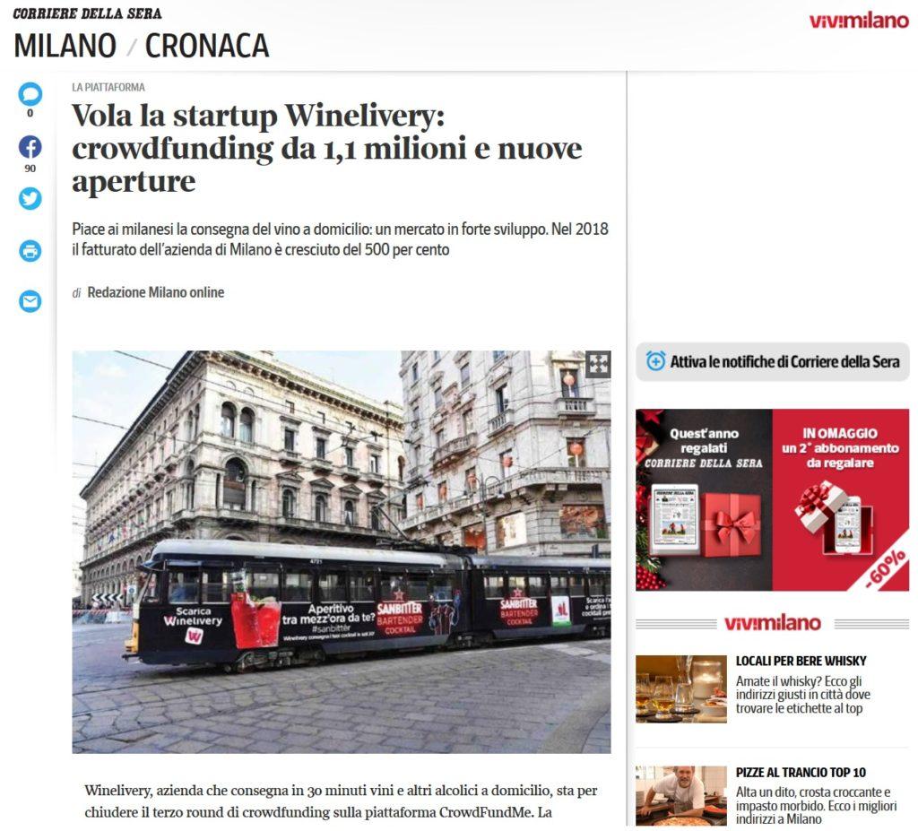 Vola la startup Winelivery: crowdfunding da 1,1 milioni e nuove aperture (Corriere della Sera)