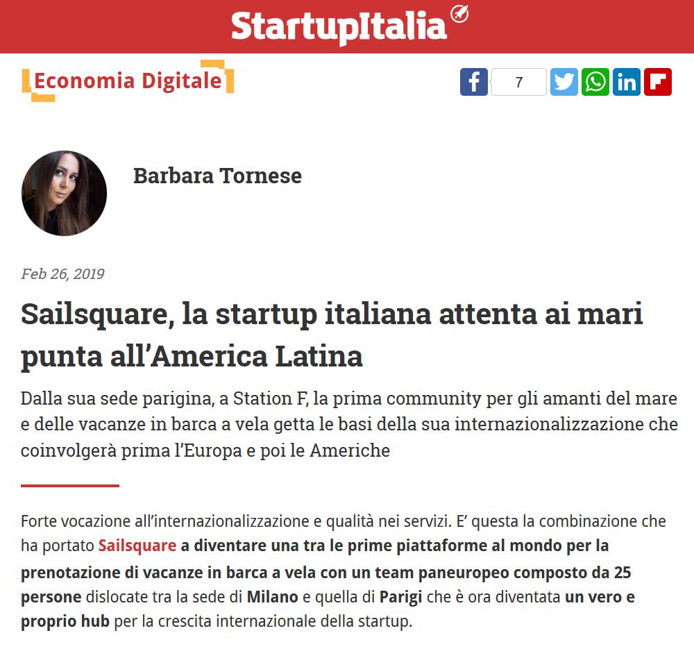 Sailsquare, la startup italiana attenta ai mari punta all'America Latina (StartupItalia!)