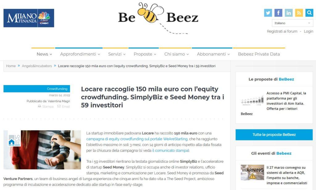 Locare raccoglie 150 mila euro con l'equity crowdfunding. SimplyBiz e Seed Money tra i 59 investitori (BeBeez)
