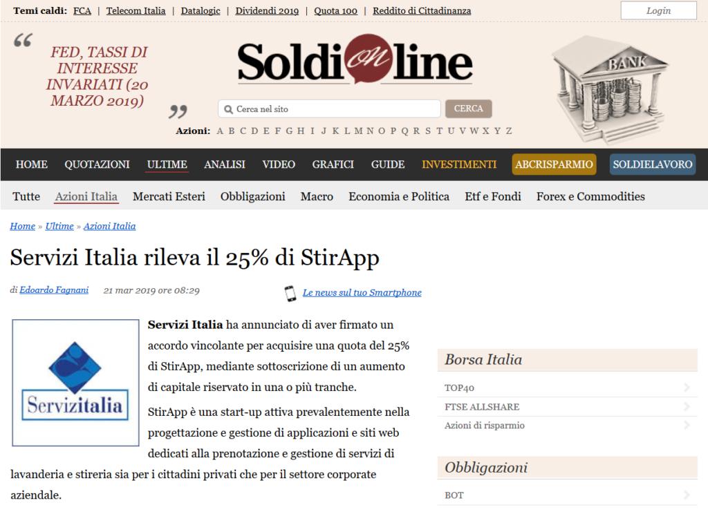 Servizi Italia rileva il 25% di StirApp (SoldiOnline.it)