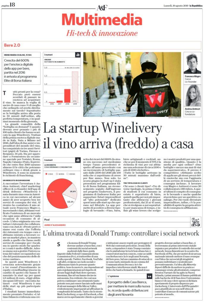 La startup Winelivery il vino arriva (freddo) a casa (La Repubblica)