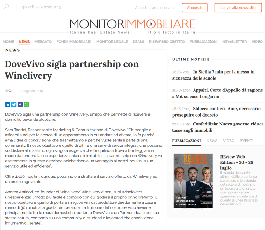 DoveVivo sigla partnership con Winelivery (MonitorImmobiliare)