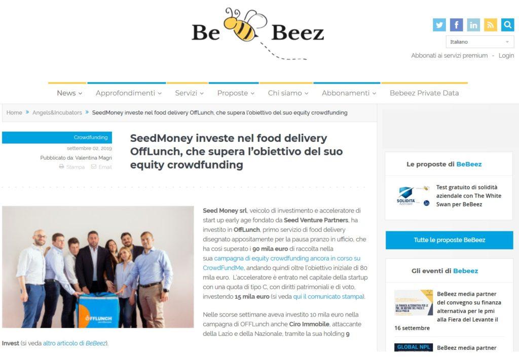 SeedMoney investe nel food delivery OffLunch, che supera l'obiettivo del suo equity crowdfunding (BeBeez)