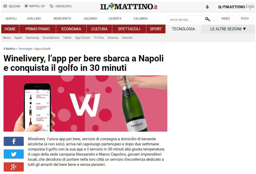 Winelivery, l'app per bere sbarca a Napoli e conquista il golfo in 30 minuti (Il Mattino)