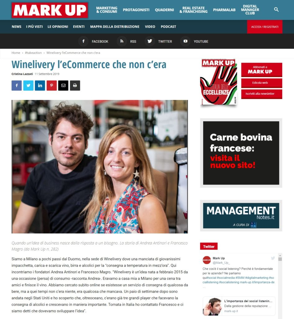 Winelivery l'eCommerce che non c'era (Mark Up)