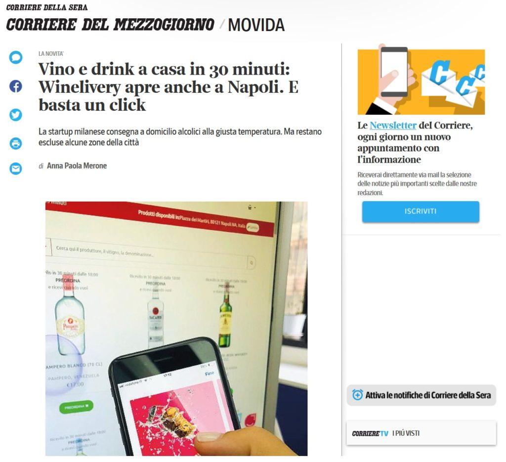 Vino e drink a casa in 30 minuti: Winelivery apre anche a Napoli. E basta un click (Corriere del Mezzogiorno)