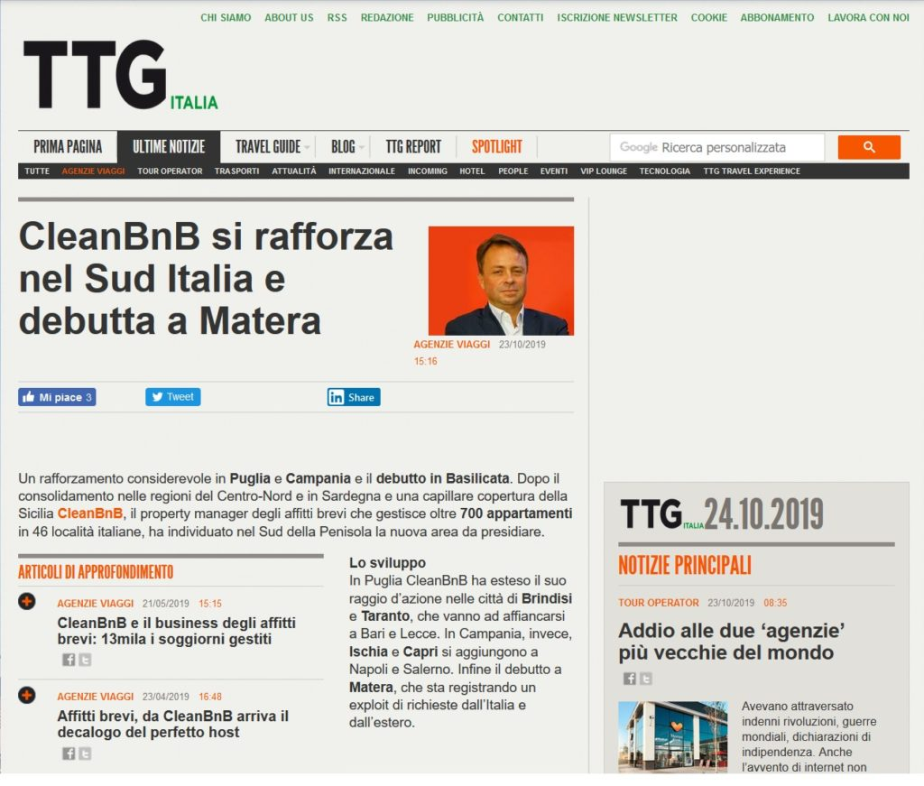 CleanBnB si rafforza nel Sud Italia e debutta a Matera (TTG Italia)