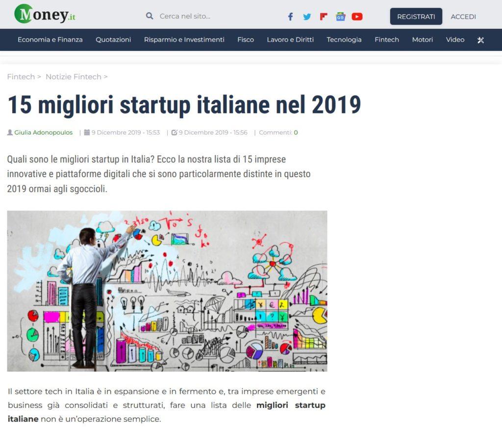 15 migliori startup italiane nel 2019 (Money.it)