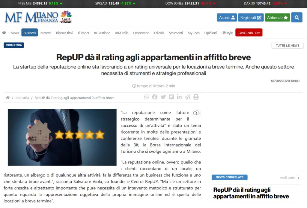 RepUP dà il rating agli appartamenti in affitto breve (Milano Finanza)