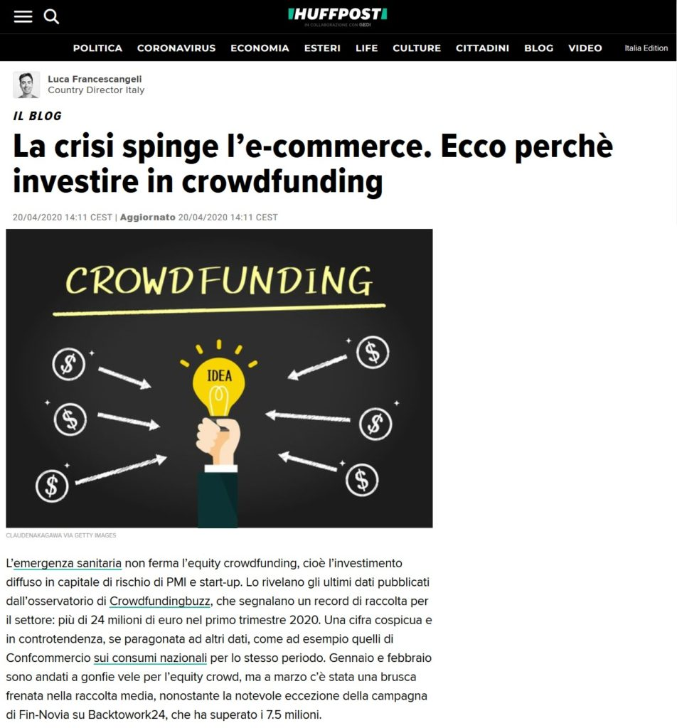 La crisi spinge l'e-commerce. Ecco perchè investire in crowdfunding (HuffingtonPost Italia)