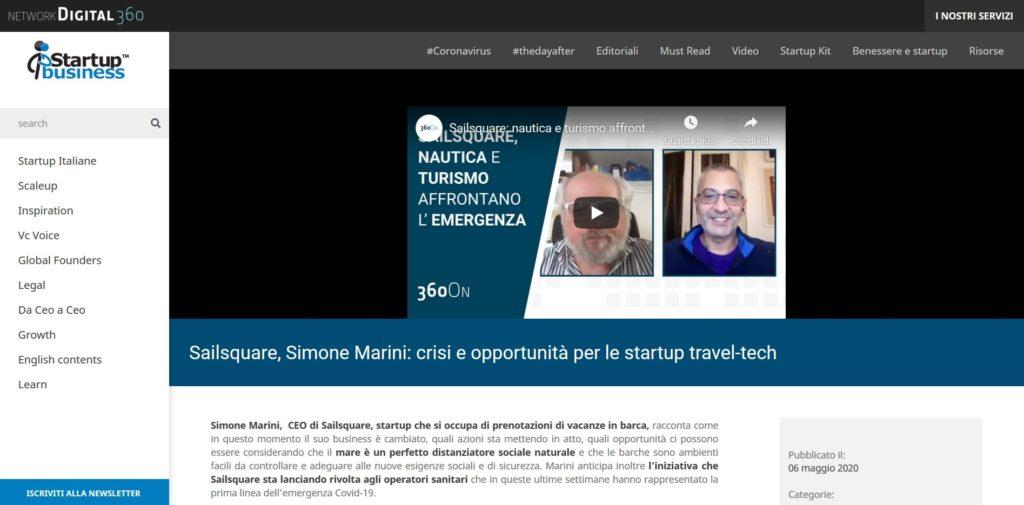 Sailsquare, Simone Marini: crisi e opportunità per le startup travel-tech (Startupbusiness)