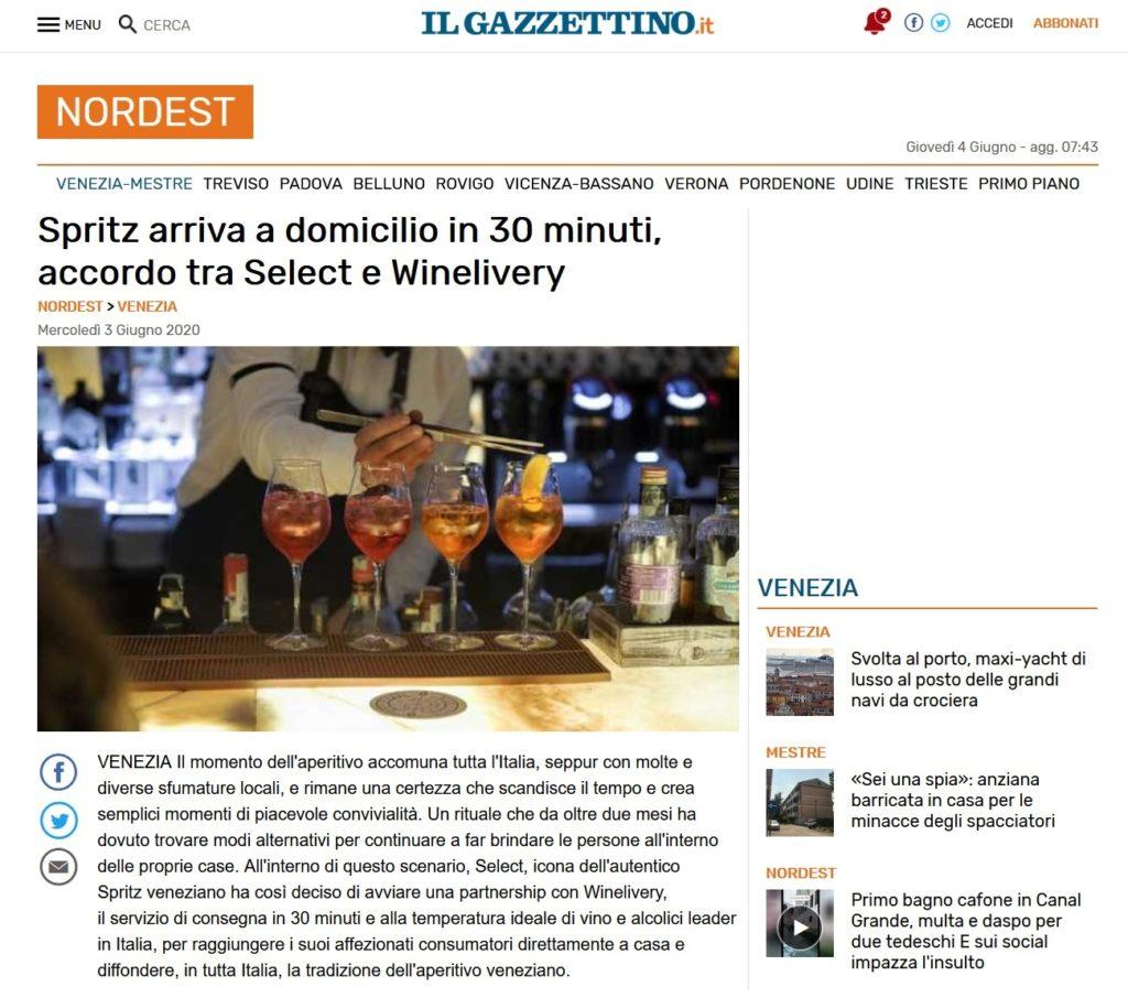 Spritz arriva a domicilio in 30 minuti, accordo tra Select e Winelivery (Il Gazzettino)