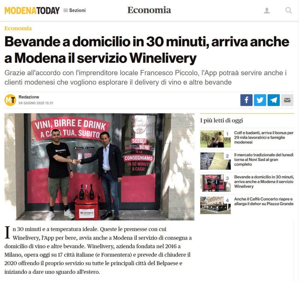 Bevande a domicilio in 30 minuti, arriva anche a Modena il servizio Winelivery (ModenaToday)