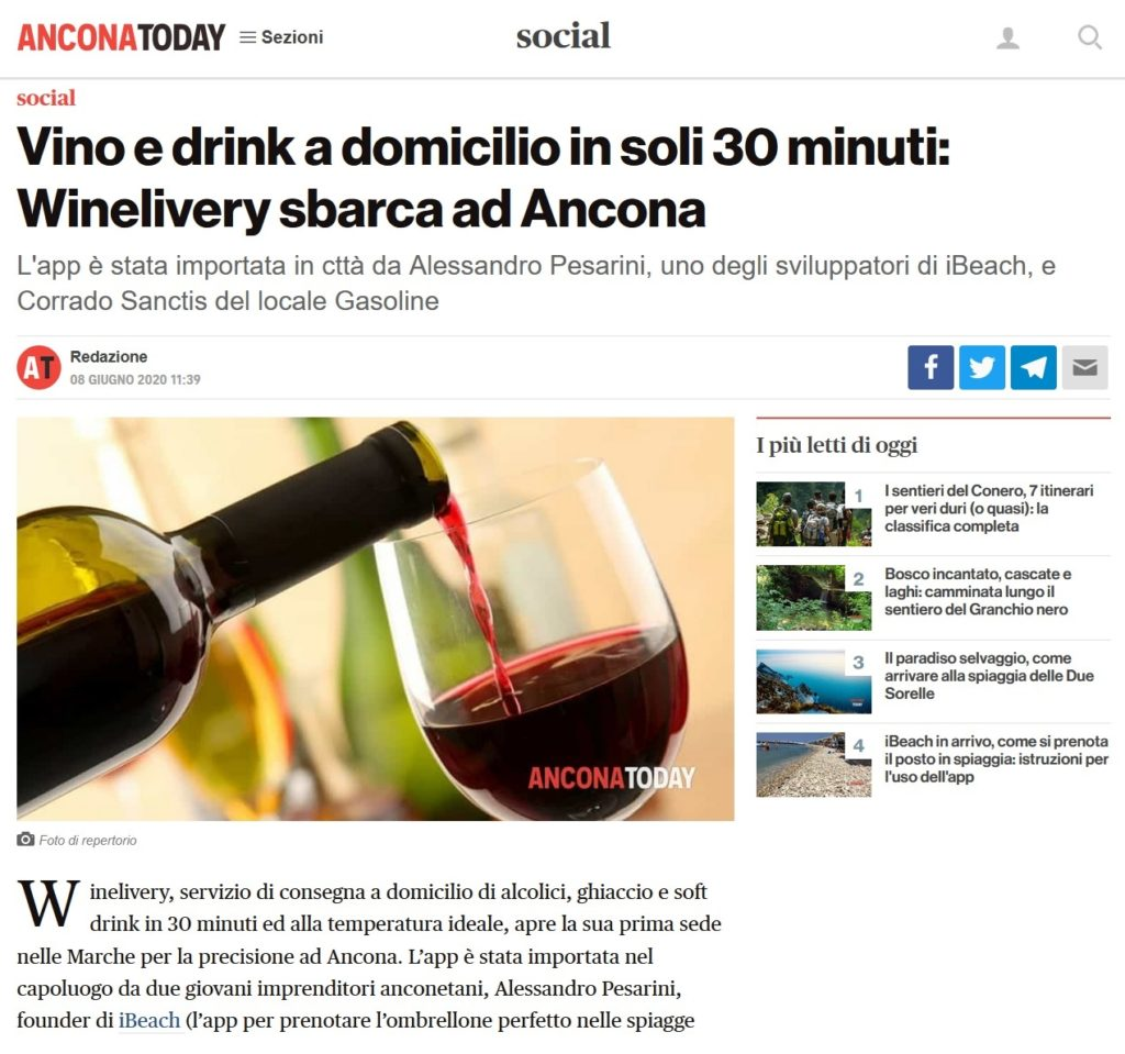 Vino e drink a domicilio in soli 30 minuti: Winelivery sbarca ad Ancona (AnconaToday)