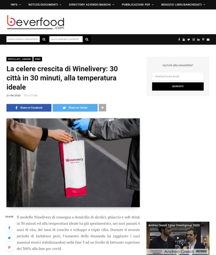 La celere crescita di Winelivery: 30 città in 30 minuti, alla temperatura ideale (Beverfood.com)