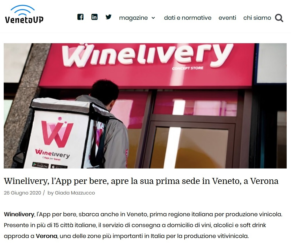 Winelivery, l'App per bere, apre la sua prima sede in Veneto, a Verona (VenetoUP)