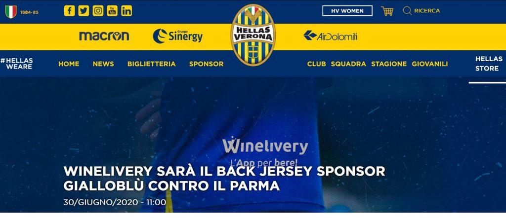 Winelivery sarà il Back Jersey Sponsor gialloblù contro il Parma (HellasVerona.it)