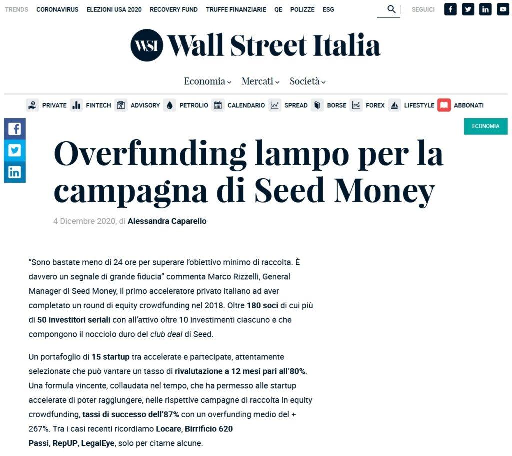 Overfunding lampo per la campagna di Seed Money (Wall Street Italia)